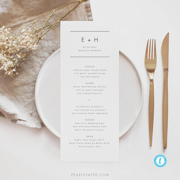 Minimalist Menu Template - Pearly Paper