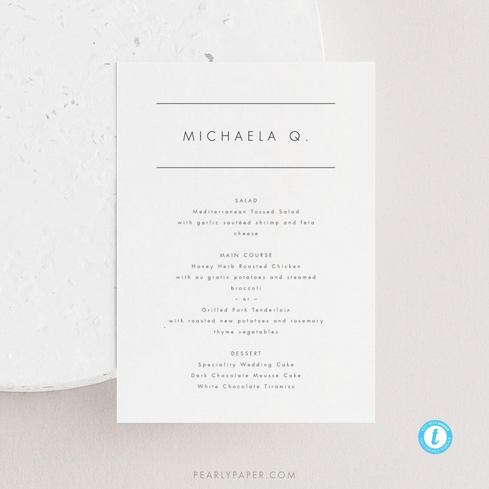 Personalized Wedding Menu Place Cards - Pearly Paper
