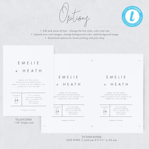 Modern Wedding Invitation Set - Pearly Paper