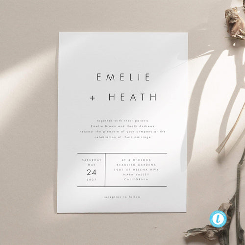Modern Minimalist Wedding Invitation Template - Pearly Paper