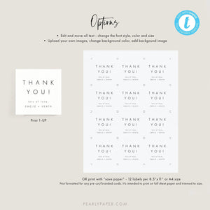 Modern Wedding Favor Tag Template - Pearly Paper