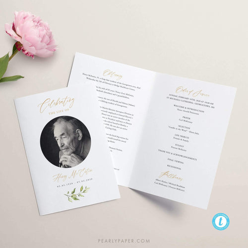 Funeral program template Download Greenery - Pearly Paper