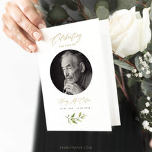Load image into Gallery viewer, Funeral program template Download Greenery - Pearly Paper