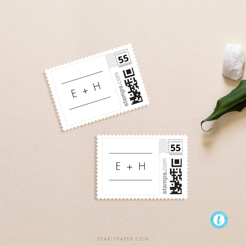 Minimalist Postage Stamp Template - Pearly Paper
