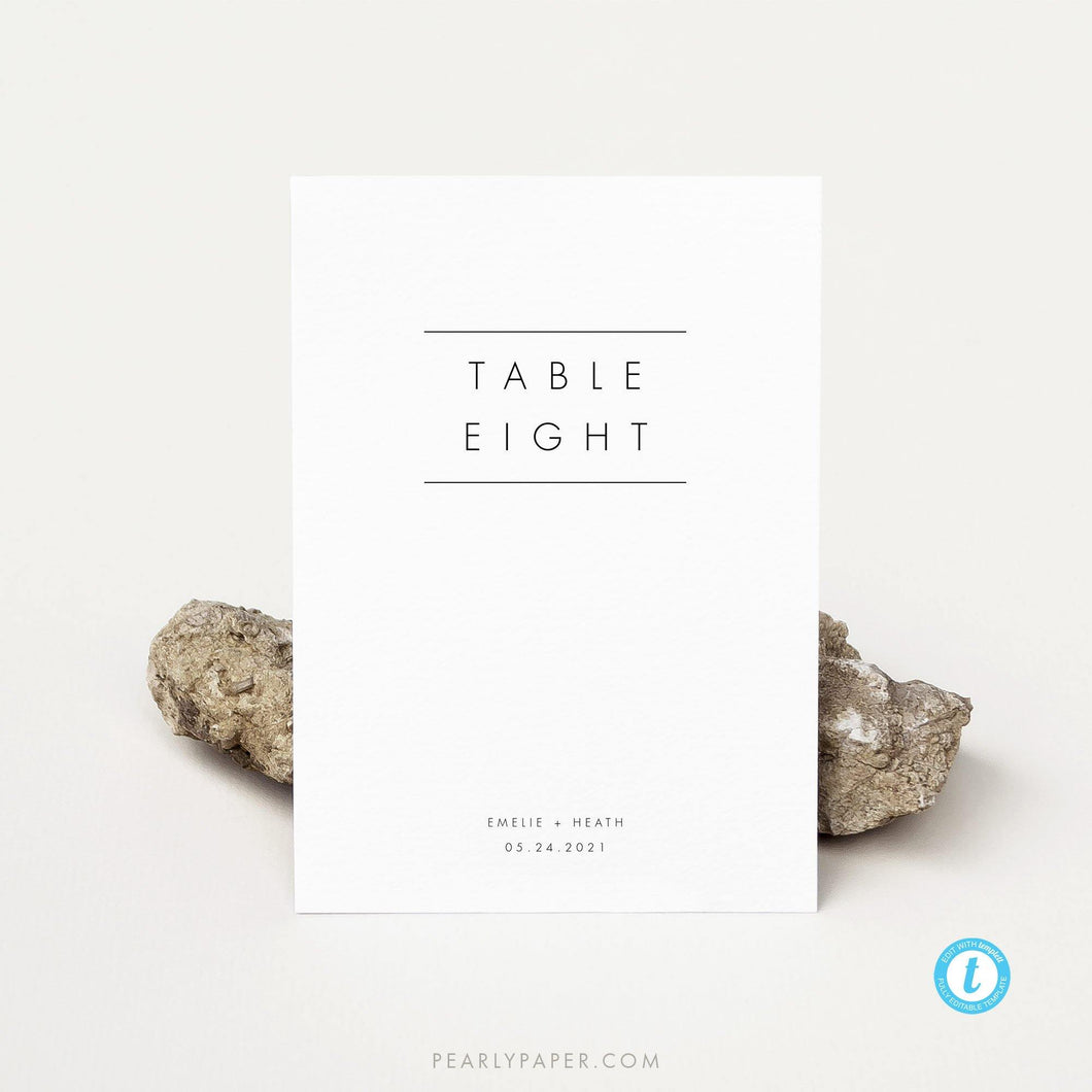 Modern Table numbers template - Pearly Paper