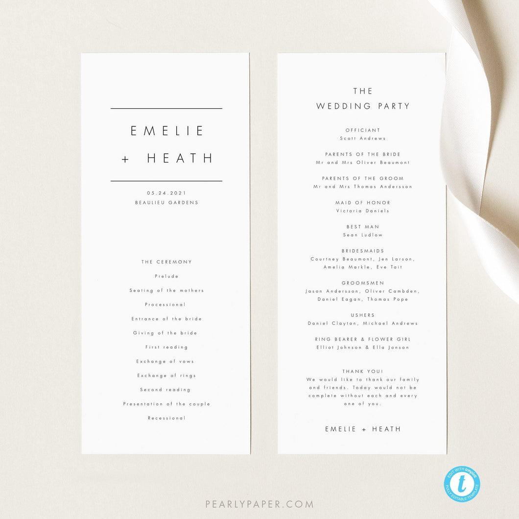 Modern Wedding Program Template - Pearly Paper
