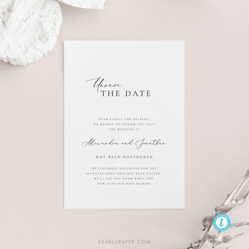 Minimalist Postponed Wedding Template - Pearly Paper