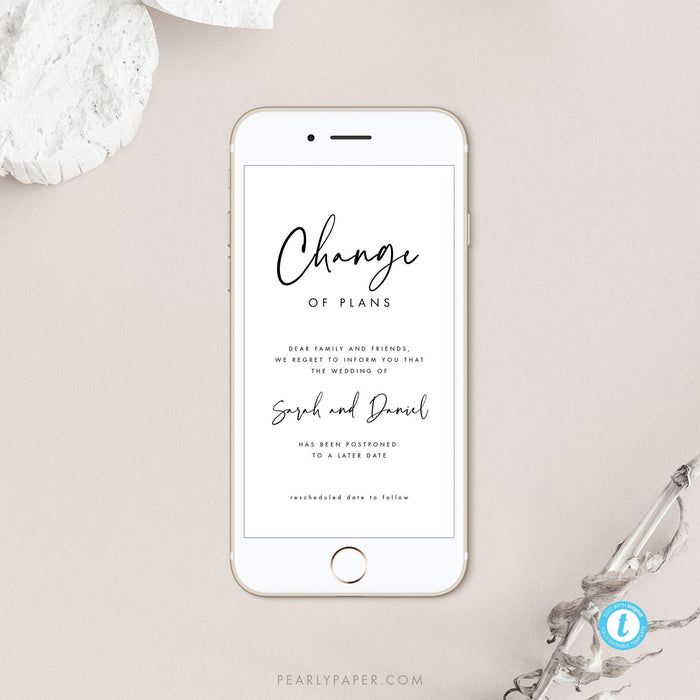 Modern Digital Postponed Wedding Template - Pearly Paper