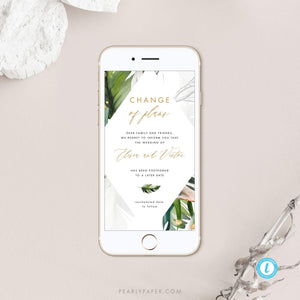 Tropical Digital Postponed Wedding Template - Pearly Paper