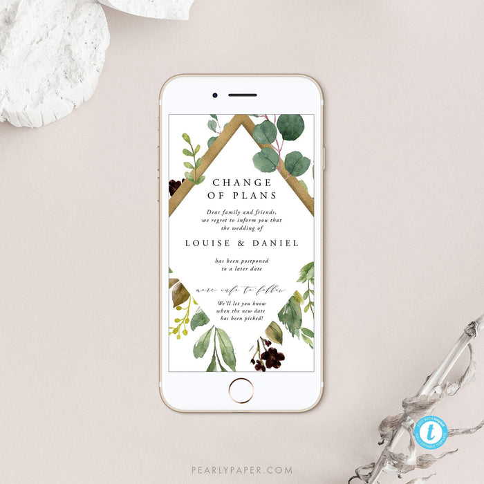 Rustic Digital Postponed Wedding Template - Pearly Paper