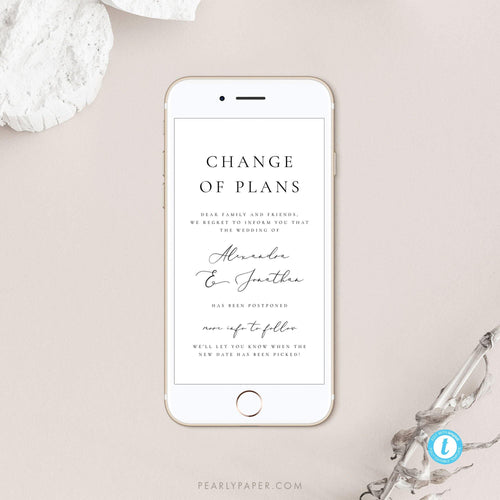 Minimalist Digital Postponed Wedding Template - Pearly Paper