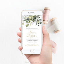 Load image into Gallery viewer, Greenery Digital Postponed Wedding Template - Pearly Paper