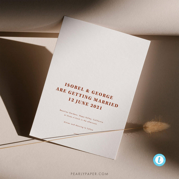 Rust Wedding Invitation Template - Pearly Paper