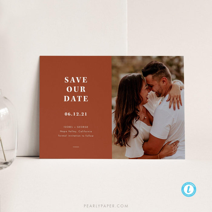 Terracotta Photo Save the Date - Pearly Paper