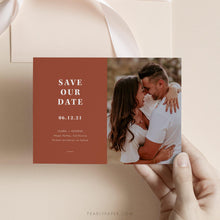 Load image into Gallery viewer, Terracotta Photo Save the Date - Pearly Paper