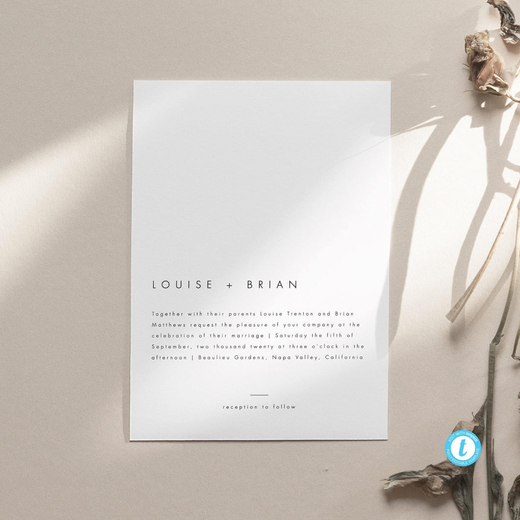 Minimalist Wedding Invitation - Pearly Paper