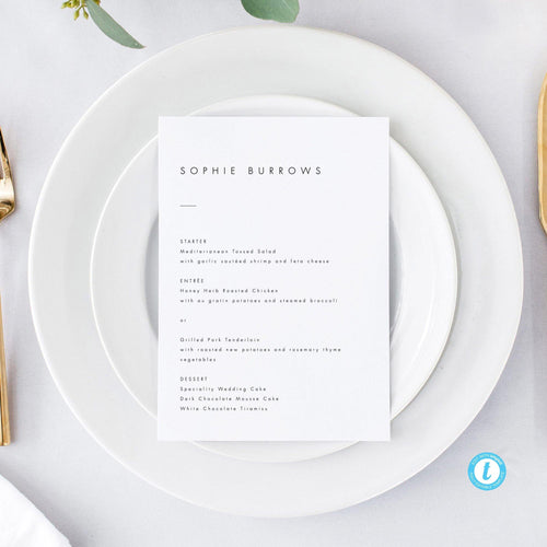 Minimalist Personalized Wedding Menu - Pearly Paper