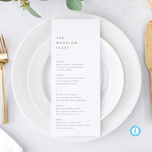 Minimalist Wedding Menu - Pearly Paper