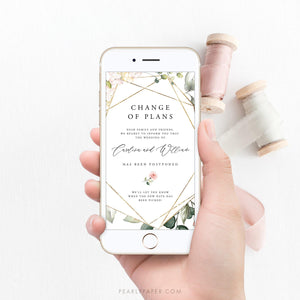 Floral Digital Postponed Wedding Template - Pearly Paper