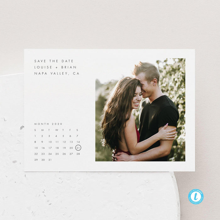 Minimalist Calendar Save the Date - Pearly Paper