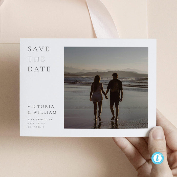 Classic Photo Save the Date Template - Pearly Paper