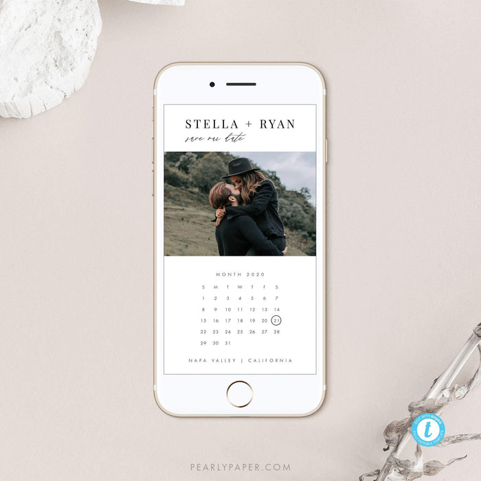 E-vite Minimalist Calendar Save the Date - Pearly Paper