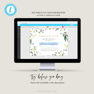 Greenery Postponed Wedding Template - Pearly Paper