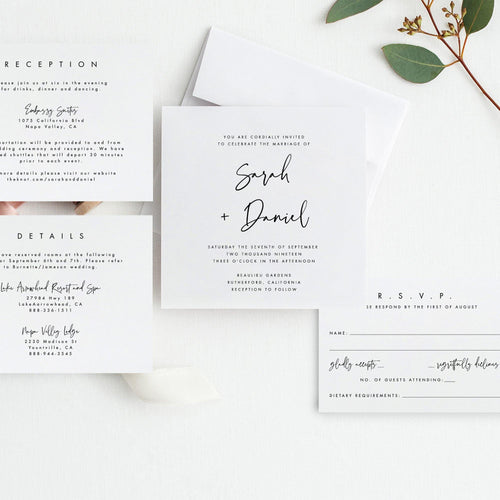 Square Wedding Invitation Set Template - Pearly Paper