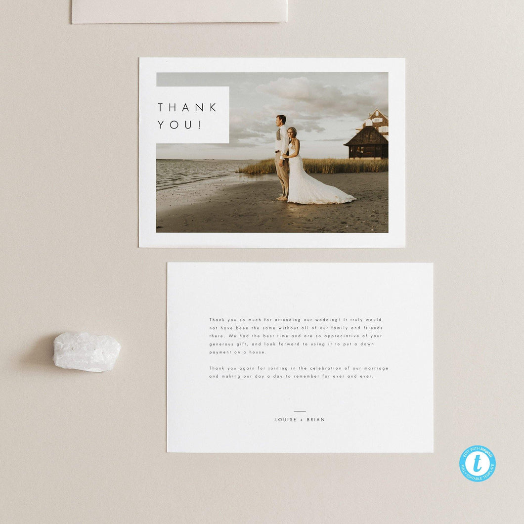 Minimalist Thank You Photo Card - Pearly Paper