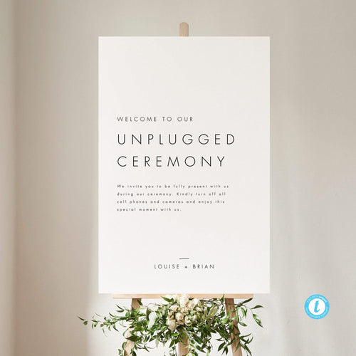 Minimalist Unplugged Ceremony Sign - Pearly Paper