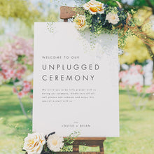 Load image into Gallery viewer, Minimalist Unplugged Ceremony Sign - Pearly Paper