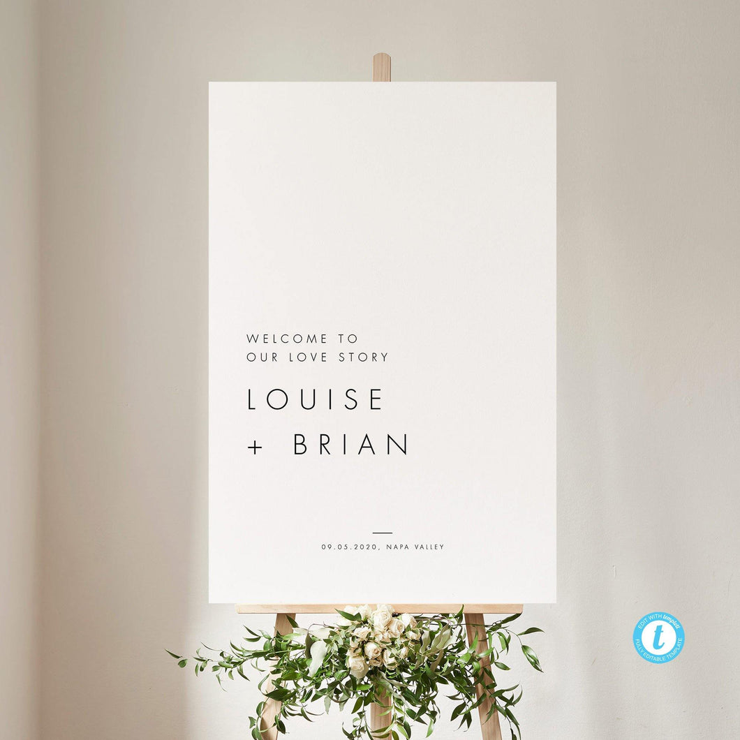 Minimalist Wedding Welcome Sign - Pearly Paper