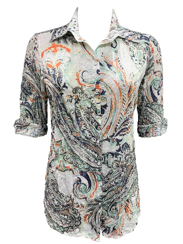 Crushed Paisley Tunic Shirt