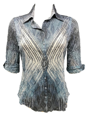 Crushed Steel Shirt w/ Stones