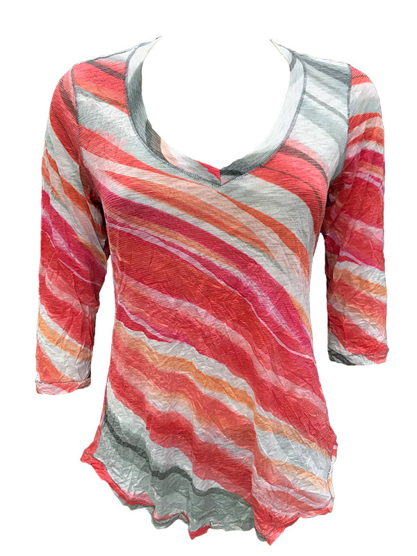 Crushed 3/4 Sleeve Hot V-Neck