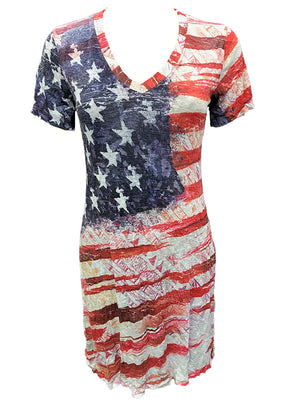 Crushed Flag V-Neck Dress