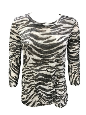 Crushed 3/4 Sleeve Zebra Crew Neck