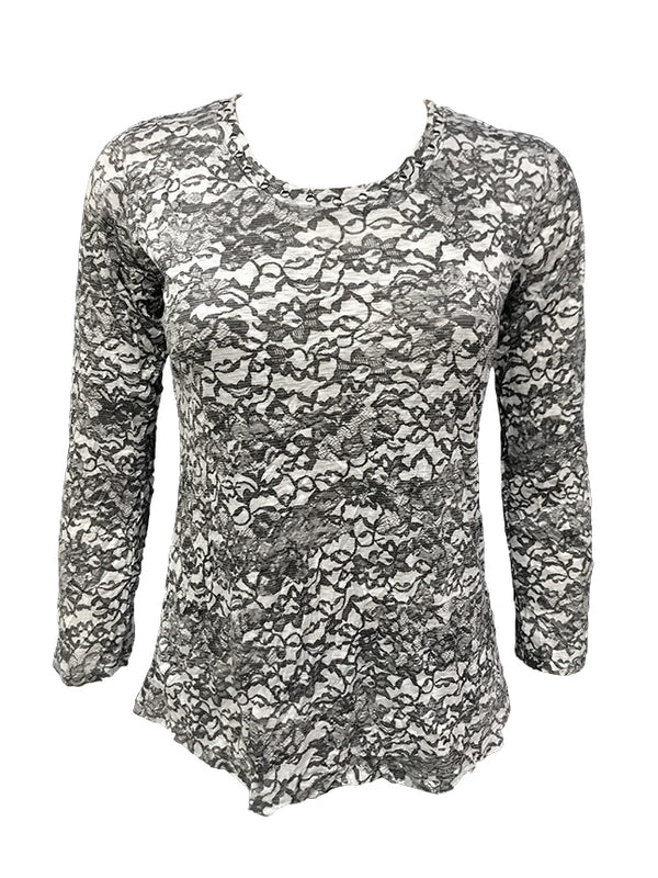 Crushed Long Sleeve Lace Crew w/Stones