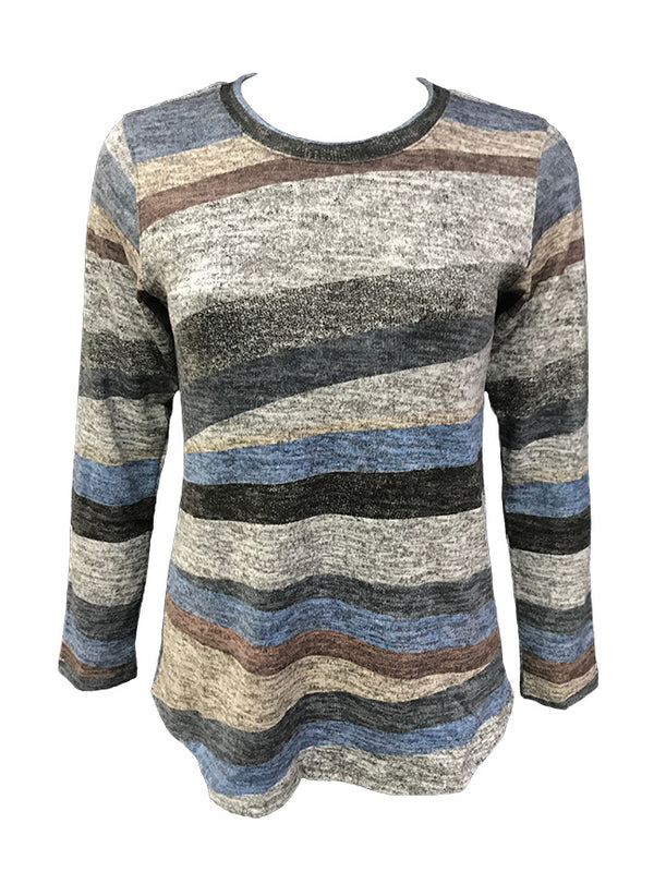 Long Sleeve Stripe Hacci Crew Neck