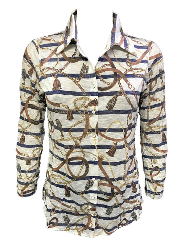 Crushed Long Sleeve Rope Shirt w/Stones