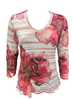 Crushed 3/4 Sleeve Poppy V-Neck