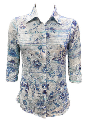 Crushed 3/4 Sleeve Blues Shirt