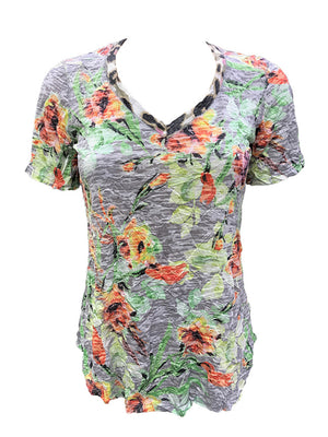 Crushed Short Sleeve Leaf V-Neck
