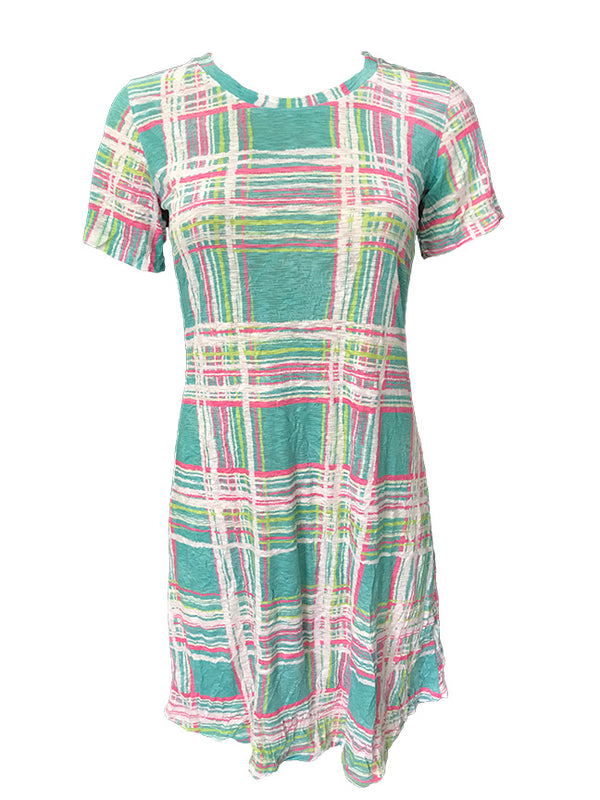 Crushed Short Sleeve Preppy Dress