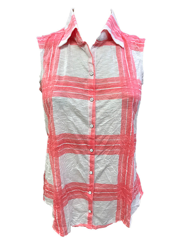 Crushed Sleeveless Coral Shirt