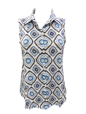 Crushed Sleeveless Ikat Shirt