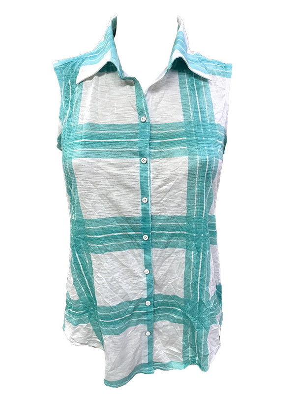 Crushed Sleeveless Mint Shirt