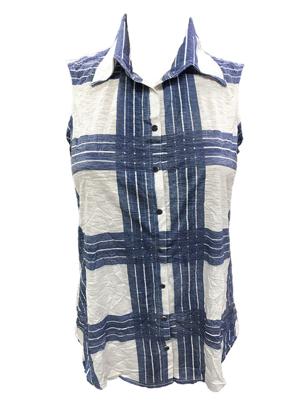 Crushed Sleeveless Navy Shirt