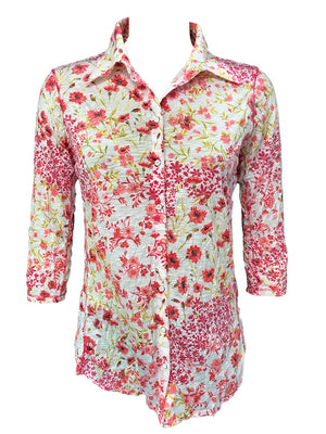 Crushed 3/4 Sleeve Floral Shirt