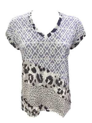 Crushed Short Sleeve Geo V-Neck